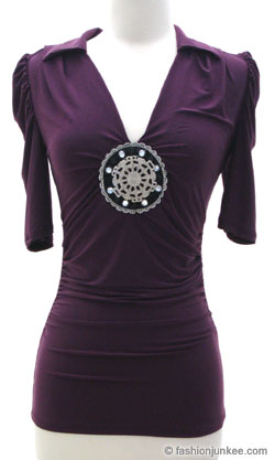 3/4 Sleeve Collar Top, Embellished Metal Jewels & Beaded-Purple