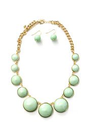 Circle Jewels Statement Necklace-Mint Green