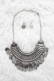 Bohemian Coin Statement Necklace-Silver
