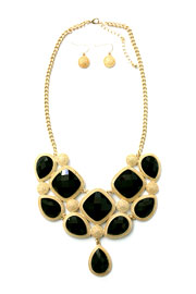 Gorgeous Jeweled Bold Statement Necklace-Black & Gold