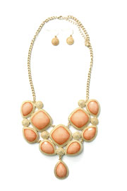 Gorgeous Jeweled Bold Statement Necklace-Blush & Gold