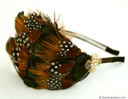 Vintage Inspired Feather Headband with Rhinestone Flower-Brown/Green