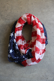 USA American Flag Infinity Scarf-Red White and Blue