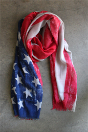 Wide USA American Flag Scarf-Red White and Blue