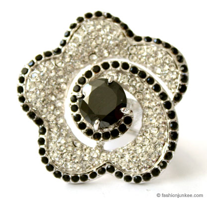 Rhinestone Flower Cocktail Ring with Large Rhinestone Center-Black