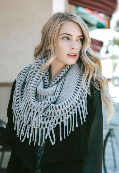 Knitting Pattern Scarf With Fringe : Fringe Knit Crochet Infinity Scarf-Grey