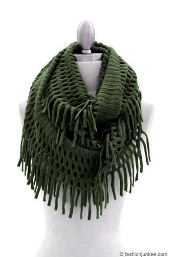 Crochet Infinity Scarf With Fringe Pattern : Fringe Knit Crochet Infinity Scarf-Olive Green