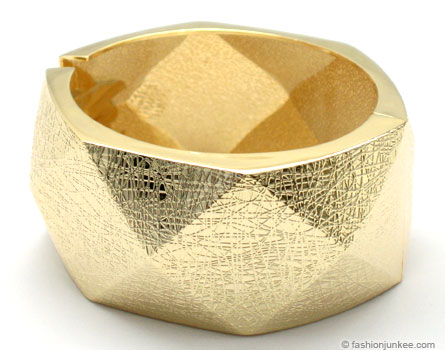 :As Seen in PEOPLE MAGAZINE: Thick Geometric Crackled Metallic Textured Cuff Bracelet-Gold