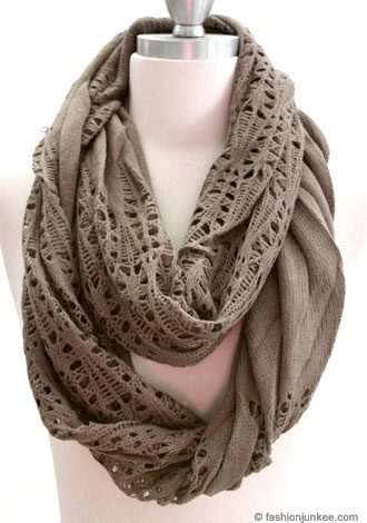 Warm Knit Crochet Long Infinity Scarf-Mocha