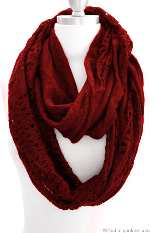 Warm Knit Crochet Long Infinity Scarf-Red