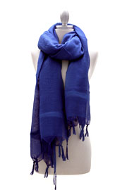Love Quotes Linen Knotted Fringe Scarf-Blue