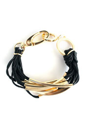 Multiple Strand Layering Bracelet with Gold Accent-Black