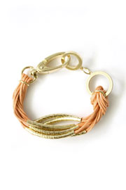 Multiple Strand Layering Bracelet with Gold Accent-Peach