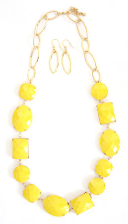 :As Seen in PEOPLE MAGAZINE & the TODAY SHOW: Neon Chunky Geometric Necklace and Earring Set-Yellow