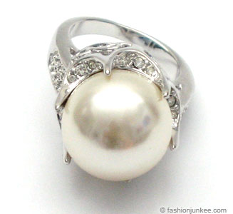 :Inspired by Sex and the City: Large Fauxe Pearl Cocktail Ring with Rhinestones-Silver