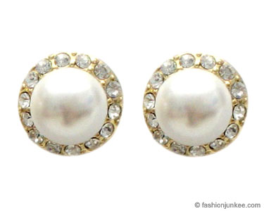 :Inspired by Sex and the City: Fauxe Pearl and Rhinestone Stud Earrings-Gold from fashionjunkee.com