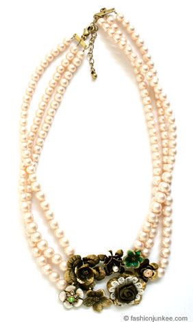 Vintage Inspired Triple Strand Pearl Necklace with Flower Pendant-Pink