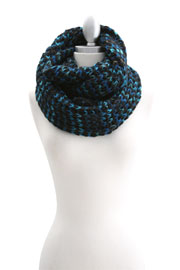 Rainbow Colorful Thick Warm Knit Infinity Scarf-Blue & Black
