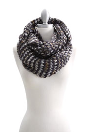Rainbow Colorful Thick Warm Knit Infinity Scarf-Taupe & Grey