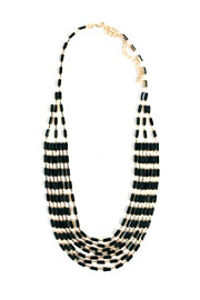 Multi Strand Simple Rectangle Ripple Necklace-Black
