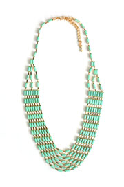 Multi Strand Simple Rectangle Ripple Necklace-Mint Green