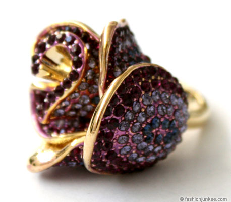 Rhinestone Rosebud Flower Cocktail Ring-Purple :  city rose new products bud
