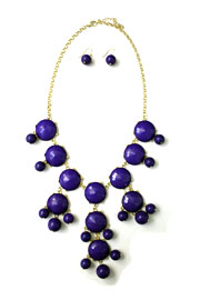 Bold Round Statement Necklace-Blue