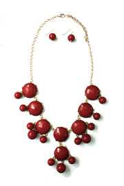 Bold Round Statement Necklace-Red