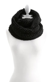 Soft Chunky Thick Warm Knit Crochet Infinity Scarf-Black