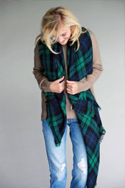 Oversized Tartan Plaid Blanket Scarf with Frayed Edges-Green & Black