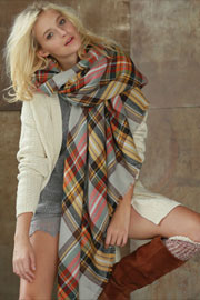 Oversized Tartan Plaid Blanket Scarf with Frayed Edges-Mustard Yellow Brown & Off White