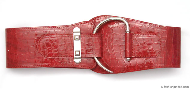 Moc Croc Studded Retro Wide Patent Hook Corset Belt-Red