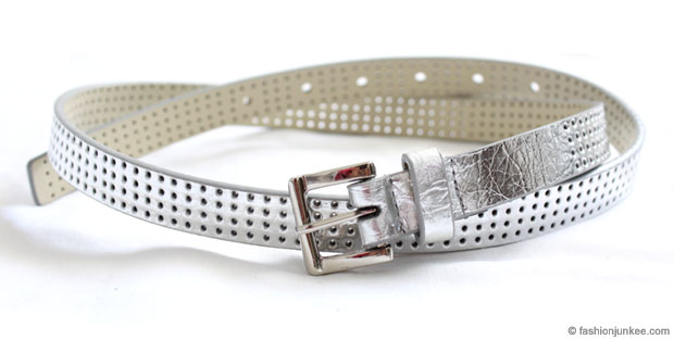 :As Seen in PEOPLE MAGAZINE: Fauxe Leather Thin Perforated Belt-Silver