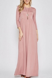 Solid Jersey Long 3/4 Sleeve Ruched Maxi Dress-Pink