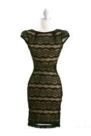 Audrey Hepburn Inspired Cap Sleeve Lace Mini Dress-Black