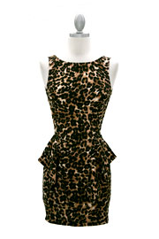 Backless Peplum Open Back Animal Print Mini Dress-Leopard Print
