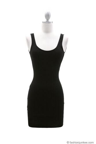 Sexy Sleeveless Backless Tank Dress Black