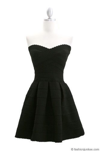 Strapless Sweetheart Flared Bandage Mini Cocktail Dress Black