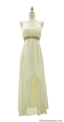 Chiffon Sweetheart Beaded High Low Wedding Dress-Off White