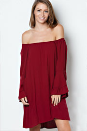 Bohemian Loose Oversized Bell Sleeve Off the Shoulder Dress-Burgundy
