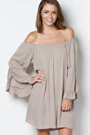 Bohemian Loose Oversized Bell Sleeve Off the Shoulder Dress-Taupe