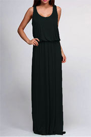 Sleeveless Blouson Long Full Length Jersey Maxi Dress-Black