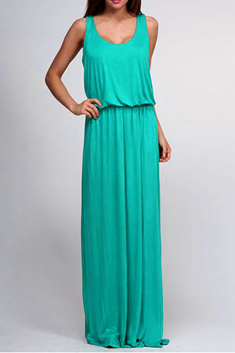 Sleeveless Blouson Long Full Length Jersey Maxi Dress-Blue Green