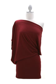 Boat Neck Off the Shoulder Mini Dress-Dark Red