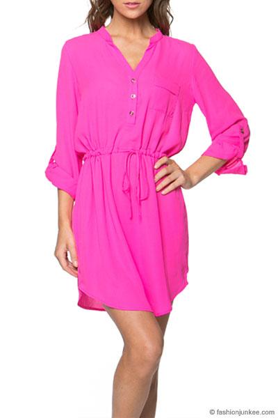 Basic Button Up Drawstring Shirt Dress-Hot Pink