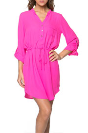 Basic Button Up Drawstring Shirt Dress-Hot Pink