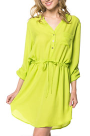 Basic Button Up Drawstring Shirt Dress-Neon Lime Yellow