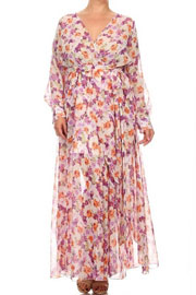 PLUS SIZE Send My Love Floral Chiffon Maxi Dress-Off White