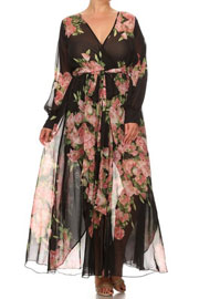 :As Seen In US WEEKLY: Send My Love Floral Chiffon Maxi Dress-Black & Pink
