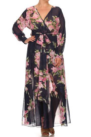 :As Seen In US WEEKLY: Send My Love Floral Chiffon Maxi Dress-Navy & Pink